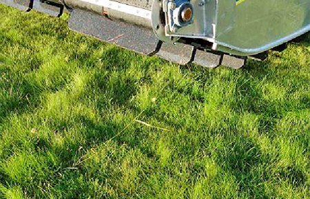 The Truxor's weight distribution system minimizes ground pressure. Truxor can be driven across a lawn without any damage to the grass.